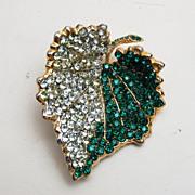 SALE Hattie Carnegie Green Rhinestone Leaf Brooch