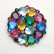 SALE Multi Colored Faceted Rhinestone Brooch