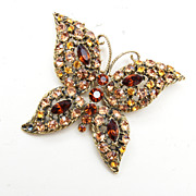 SALE Shades of Brown Rhinestone Butterfly Brooch