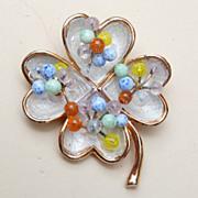SALE Kramer Enameled and Colored Glass Brooch