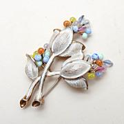 SALE Kramer Enameled and Colored  Glass Flower Brooch