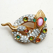 SALE Beautiful Rhinestone Snake Brooch