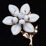 SALE Milk Glass - Poured Glass Molded Glass Flower Brooch