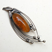 SALE Sterling and Amber Brooch