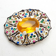 SALE Celluloid and Colorful Rhinestone Brooch
