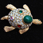 SALE A2165 Sphinx Turtle Rhinestone Brooch