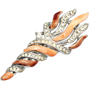 SALE Lisner Enamel and Rhinestone Torch Brooch