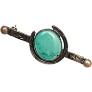 SALE Horse Shoe Sterling Brooch With Turquoise