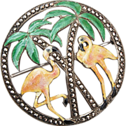 SALE Sterling, Enamel and Marcasite Flamingos and Palm Trees Brooch
