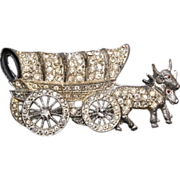 SALE Pot Metal Covered Wagon Brooch With Movable Wheels