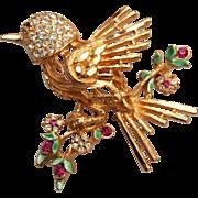 SALE BSK Rhinestone Bird Brooch