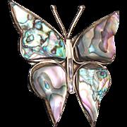 SALE Abalone Shell Butterfly Brooch
