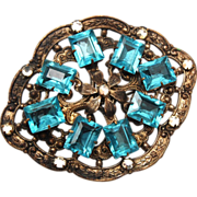SALE Aqua Open Backed Rhinestone Brooch