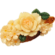 SALE Celluloid Basket of Flowers Brooch Signed Japan