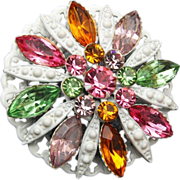 SALE Japanned White and Pastel Rhinestone Brooch