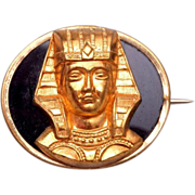 SALE Egyptian Onyx and Gold Tone Brooch