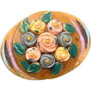 SALE Painted Celluloid Flower Brooch