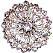 SALE Very Well Made and Sparkly Clear Rhinestone Brooch