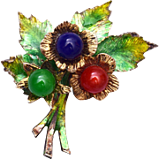 SALE Sterling Germany Enameled and Glass Brooch