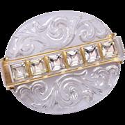 SALE Beautiful Reverse Carved Crystal Brooch With Rhinestones