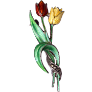 SALE Sterling Germany Enamel Flower Brooch