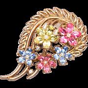 SALE 1954 Trifari Patent Pending Pastel Flower Brooch