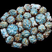 SALE Blue Art Glass Brooch