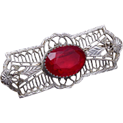 SALE Red Rhinestone and Filigree Finding Brooch