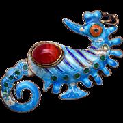 SALE Blue Enamel and Carnelian Stone Silver Sea Horse Brooch