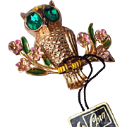 SALE 1948 A. Katz Coro Owl Brooch Book Piece
