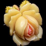 SALE Molded Celluloid Flower Brooch