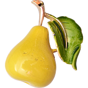 SALE Enameled Pear Brooch