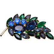 SALE Blue and Green Molded Glass Brooch