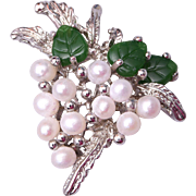 SALE Natural Pearl and Jade Brooch