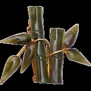 SALE Carved Jade Bamboo Brooch