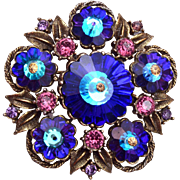 SALE Weiss Blue Rivoli Crystal and Purple Rhinestone Brooch