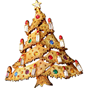 SALE JJ Christmas Tree Brooch With 11 Candles