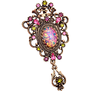 SALE Sarah Coventry Faux Opal Brooch or Pendant
