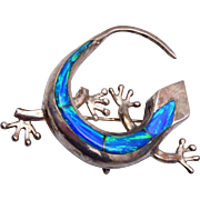 SALE Sterling Gecko Brooch / Pendant With Opal Back