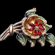 SALE Flower Trembler Brooch Enameled with Rhinestones