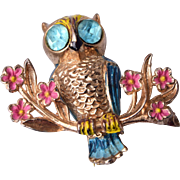 SALE 1948 Coro Book Piece Owl Brooch