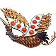 Chinese Sterling Filigree and Enamel Duck Brooch