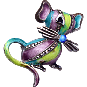 SALE Sterling Germany Enameled and Marcasite Mouse Brooch