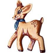 Hand Carved Natural Wood Hand Painted Deer Brooch