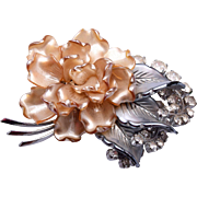 Super Molded Glass and Pearl Coated Flower Brooch