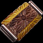 SALE Apple Juice Bakelite and Carved Wooden Brooch