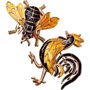 Trifari Enameled Bee and Rooster Figural Set