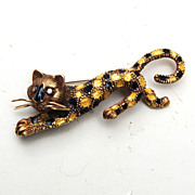 SALE 14kt Martine Panther Brooch With Diamond Eyes