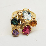 SALE 18kt Gold Ring With 5 Colorful Gems Size 7