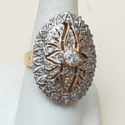 SALE 14kt Gold Ring With 2kts of Diamonds Size 8-1/2